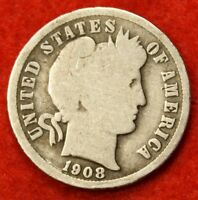1908 P BARBER / LIBERTY HEAD DIME G COLLECTOR COIN GIFT CHECK OUT STORE BD274