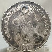 1807 DRAPED BUST HALF DOLLAR - HERALDIC EAGLE - HOLED