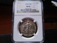 1940-S MINT STATE 66 WALKING LIBERTY HALF DOLLAR NGC CERTIFIED GEM - TONED