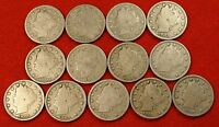 1900-1912 LIBERTY V NICKEL G FULL RIMS COLLECTOR 13 COINS  QUALITY LN556