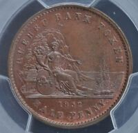 QUEBEC BANK TOKEN PROVINCE OF CANADA  PENNY TOKEN 1852 CH PC 3   MS64
