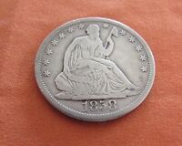 F/VF 1858 S 50C SEATED LIBERTY HALF     SAN FRANCISCO    ONLY 476,000 MINTED