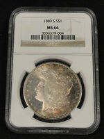 1880 S MORGAN SILVER DOLLAR TONED BEAUTY  KEY GRADE NGC MS 66 9 004
