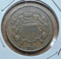 1867 P TWO CENT PIECE - VF