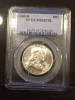 1960 D 50C PCGS MS62 FBL FRANKLIN HALF DOLLAR SILVER COIN BULLION 1960 D MS62FBL