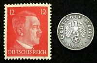 AUTHENTIC  GERMAN COIN AND UNSUED STAMP WORLD WAR 2