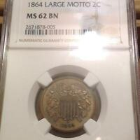 1864 SHIELD TWO CENTS 2 LARGE MOTTO NGC MINT WILD COLOR MINT STATE 62 BN ILIKEMETALS