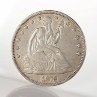 RAW 1872 SEATED LIBERTY 50C UNCERTIFIED UNGRADED SILVER HALF DOLLAR COIN US MINT