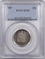 VERY  1867 LIBERTY SEATED QUARTER PCGS XF 40 ORIGINAL & ONLY 400 KNOWN