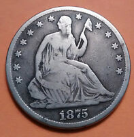 1875 SEATED LIBERTY SILVER HALF DOLLAR IN AN AIR TITE CAPSULE   OLD COIN