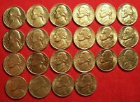 1962 1995 PDS AU BU JEFFERSON NICKEL LOT OF 22. NO DUPLICATES. LOT A.