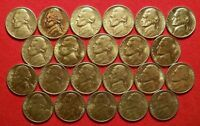 1962 1995 PDS AU BU JEFFERSON NICKEL LOT OF 22. NO DUPLICATES. LOT C.
