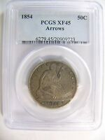 1854 ARROWS LIBERTY SEATED HALF DOLLAR PCGS XF 45 CERT 20909723