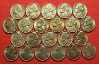 1963 1995 PDS AU BU JEFFERSON NICKEL LOT OF 22. NO DUPLICATES. LOT D.