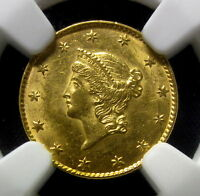 1849 P $1 GOLD PIECE  NGC MS 61  OPEN WREATH UNCIRCULATED TYPE 1 T EDELMANS