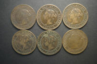 6 CANADA LARGE ONE CENT COINS   VICTORIA   1859 1882 1888 1900 & 1901