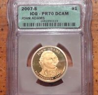 2007-S $1 JOHN ADAMS DC PRESIDENTIAL DOLLAR - ICG - PR70 DCAM PERFECT