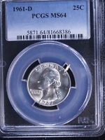 1961 D 25C WASHINGTON QUARTER PCGS MS64
