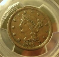 1856  PCGS  VF 30  SLANTED 5  BRAIDED HAIR CENT  LISTED AT $42.00