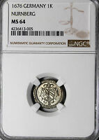 1676 GERMANY NURNBERG 1 KREUZER NGC GRADED