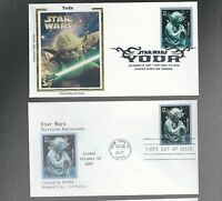 US FDC FIRST DAY COVER STAR WARS YODA 2007 LOT OF 2  ONE COLORANO SILK