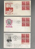 US FDC  870 MARK HOPKINS  FAMOUS AMERICANS 1940    LOT OF 6 WITH BLOCKS