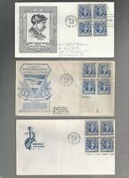 US FDC  882 EDWARD MACDOWELL   FAMOUS AMERICANS 1940  LOT OF 6 WITH BLOCKS