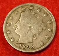 1893 LIBERTY V NICKEL G FULL RIM  DATE BEAUTIFUL COLLECTOR COIN GIFT LN305