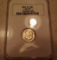 1949 S ROOSEVELT DIME   NGC GRADED MS 67 WITH TONING.  KEY DATE