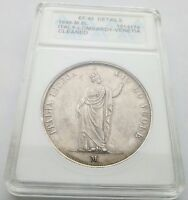 ITALIAN STATES LOMBARDY VENETIA 1848 M 5 LIRE SILVER ANACS EF 45 DETAILS CLEANED