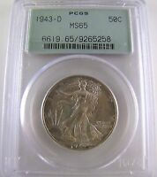 1943 D WALKING LIBERTY 50C PCGS MINT STATE 65 SILVER COIN