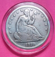 1876 S SEATED LIBERTY SILVER HALF DOLLAR IN AN AIR TITE CAPSULE  NICE OLD COIN
