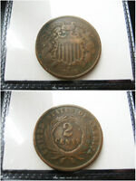 1868 2 CENT PIECE COPPER CHOICE F COIN