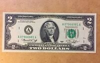 1976 $2 FEDERAL RESERVE NOTE GREEN SEAL UNCIRCULATED A07966981A - 30