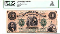1860 $10 CITIZENS' BANK OF LOUISIANA PCGS 60 NEW OBSOLETE CURRENCY