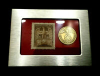 GERMAN WW2  10 RP BRASS COIN & STAMP IN A SECURE METAL DISP FRAME
