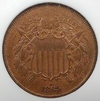 1865 TWO CENT PIECE CERTIFIED MINT STATE 65 BN BY NGC CIVIL WAR ERA COINAGE