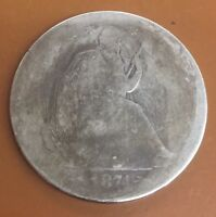 1874 S ARROWS SEATED LIBERTY SILVER HALF DOLLAR : NICE CIRCULATED COIN