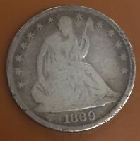 1869 P SEATED LIBERTY SILVER HALF DOLLAR : NICE CIRCULATED COIN