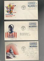 US FDC   928 UNITED NATIONS CONFERENCE 1945  LOT OF 3  PATRIOTIC