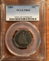 GORGEOUS 1891 PCGS PROOF 65 SEATED LIBERTY QUARTER