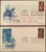 TEX'S FIRST DAY COVERS: 1967 CHRISTMAS ARTMASTER & 1968 CHRISTMAS ARTCRAFT FDOIS