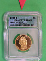 L-TOO:  2008-S JAMES MONROE PRESIDENTIAL DOLLAR  ICG PR70 DCAM  PERFECTION