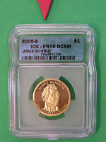 L-TOO:2008-S JAMES MONROE  ICG PR70 DCAM  PRESIDENTIAL DOLLAR  PERFECTION