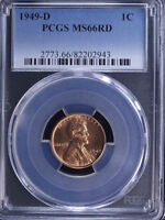 1949 D 1C RD LINCOLN CENT PCGS MS66RD