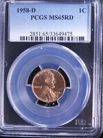 1958 D 1C RD LINCOLN CENT PCGS MS65 RED