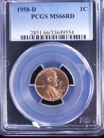 1958 D 1C RD LINCOLN CENT PCGS MS66 RED