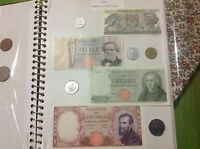 ITALY 500,1000,5000,10000 LIRE BANKNOTES & COINS.1960'S
