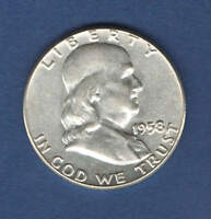 1958 UNITED STATES FRANKLIN HALF DOLLAR   SILVER   NICE ATTRACTIVE COIN