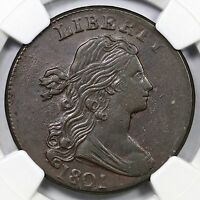 1801 S 214 R 3 NGC AU 50 DRAPED BUST LARGE CENT COIN 1C